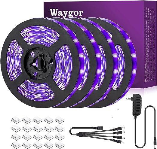 65.6ft UV Blacklight LED Strip Lights - Waygor UV LED Strip Lights 395nm to 405nm Blacklight LED Strip Light, 12V Flexible Black Light LED Strips, Non-Waterproof for Party, Stage Lighting, Body Paint
