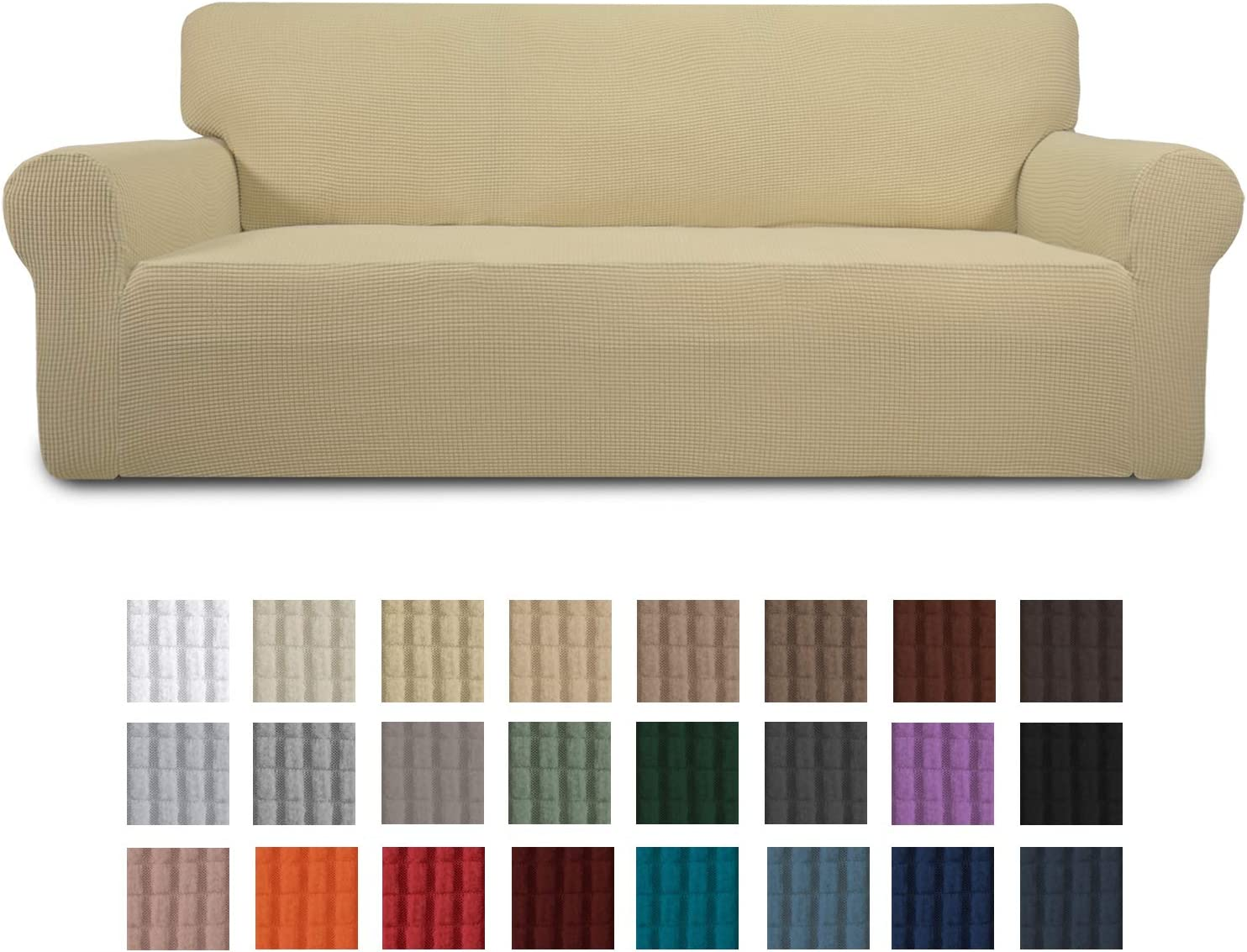Easy-Going Stretch Sofa Slipcover 1-Piece Couch Sofa Cover Furniture Protector Soft with Elastic Bottom for Kids, Spandex Jacquard Fabric Small Checks(Sofa,Beige)