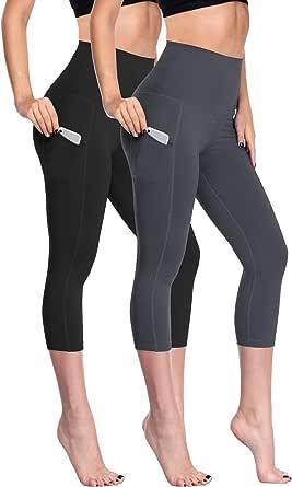 Neleus Women's Yoga Capri Leggings Tummy Control High Waist Workout Running Leggings