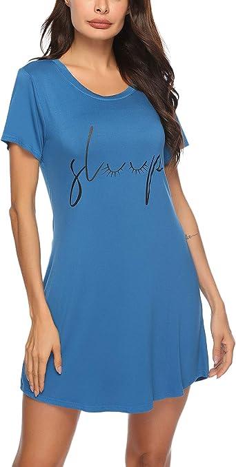 Sykooria Camisón de algodón para Mujer Camisa de Manga Corta con Cuello Redondo Suave Vestido de camisón Estampado Lindo: Amazon.es: Ropa y accesorios
