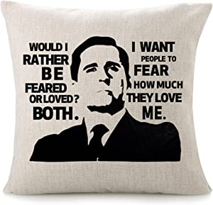 CHICCAT Cotton Linen Throw Pillow Case - Feared or Loved Quote Humor Pillow Calligraphy Home Decor Engagement Present Birthday Cushion Cover 18x18 inches