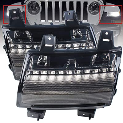 "KUQIQI 4"" Round LED Fog Light Fog Lamps for Jeep Wrangler JL 2020 2020 with Bracket White Daytime Running Light (JL Fender Signal): Automotive"