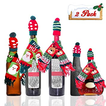 christmas wine bottle cover decorations gifts santa claus reindeer ayamaya 2pcs christmas