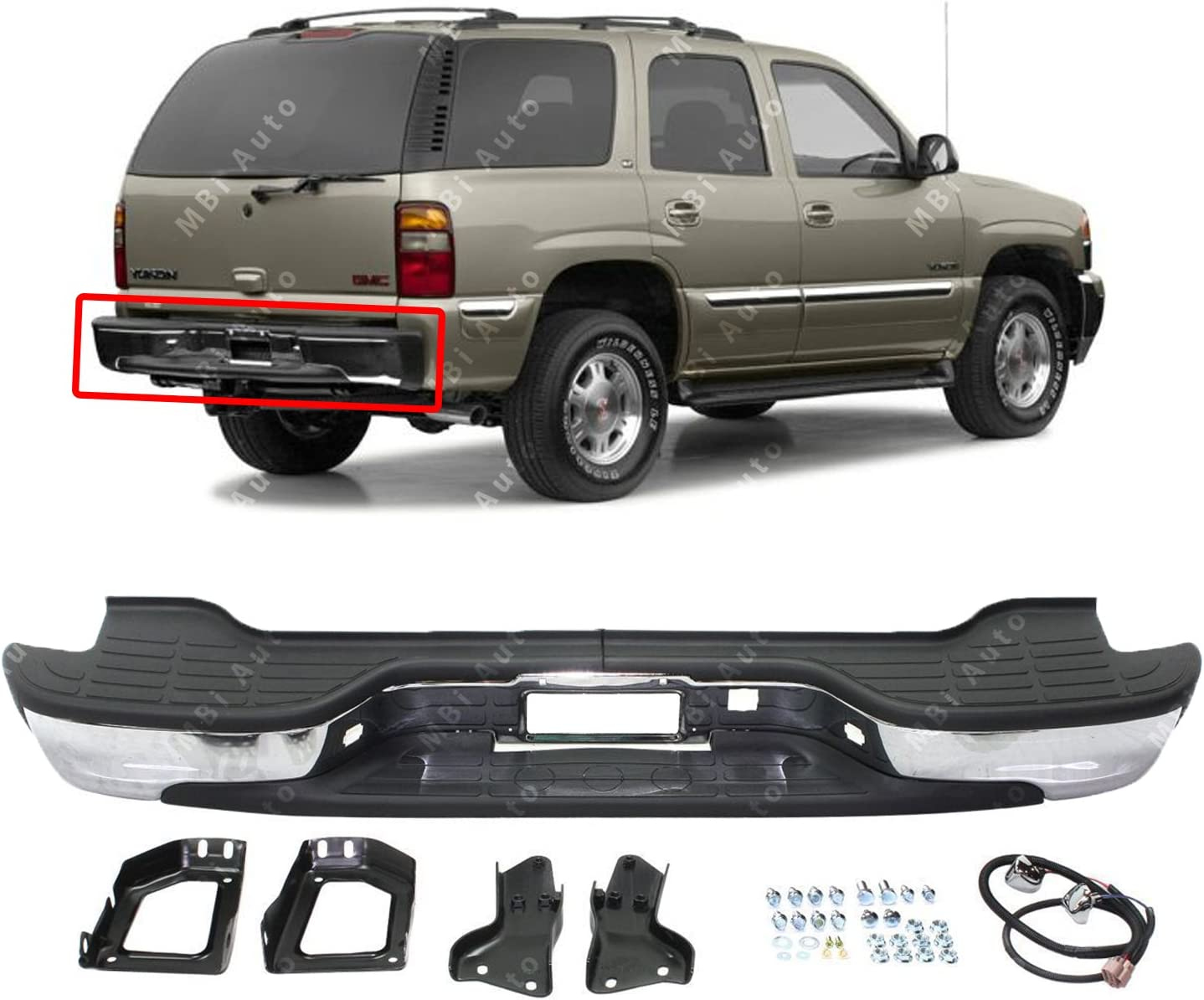 Brighter Design 7//8 Rear Bumper Accent Trim fits 2015-2018 Chevy Suburban