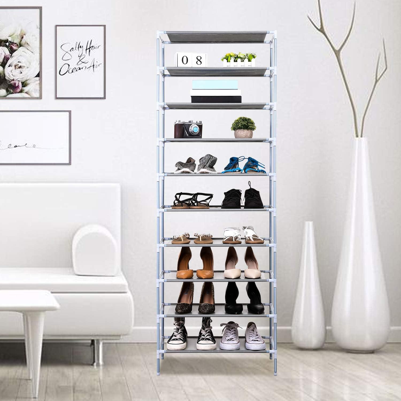 Jaketen 10 Tiers Shoe Rack - Easy Assembled Non-woven Fabric Shoe Tower Stand - Sturdy Shelf Storage Organizer Cabinet Shelf[US STOCK] (White)
