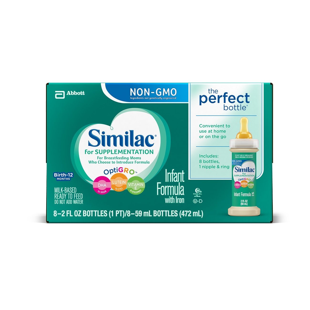 Similac for Supplementation Ready-to-Feed Infant Formula Bottles with Nipple and Ring,
