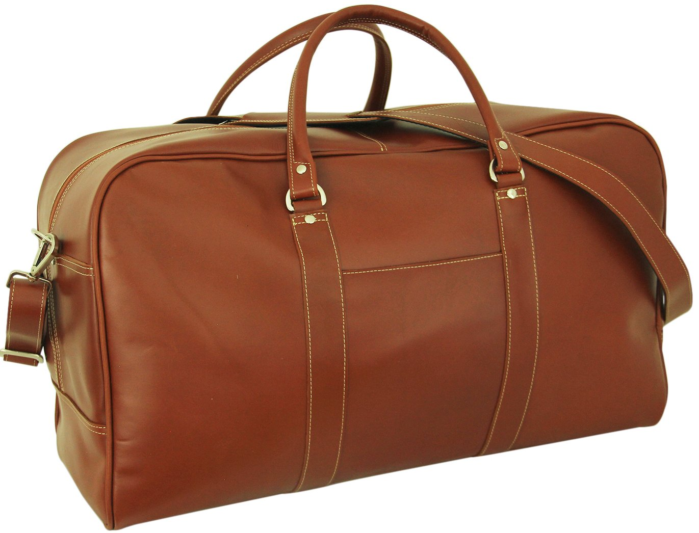 Duffle Bag, Leather, Large Cognac Leather, Large Capacity, Executive, Luxury,, Weeklong Capacity, Removable Strap, Easy Care, Vacation, Work, Carry On,
