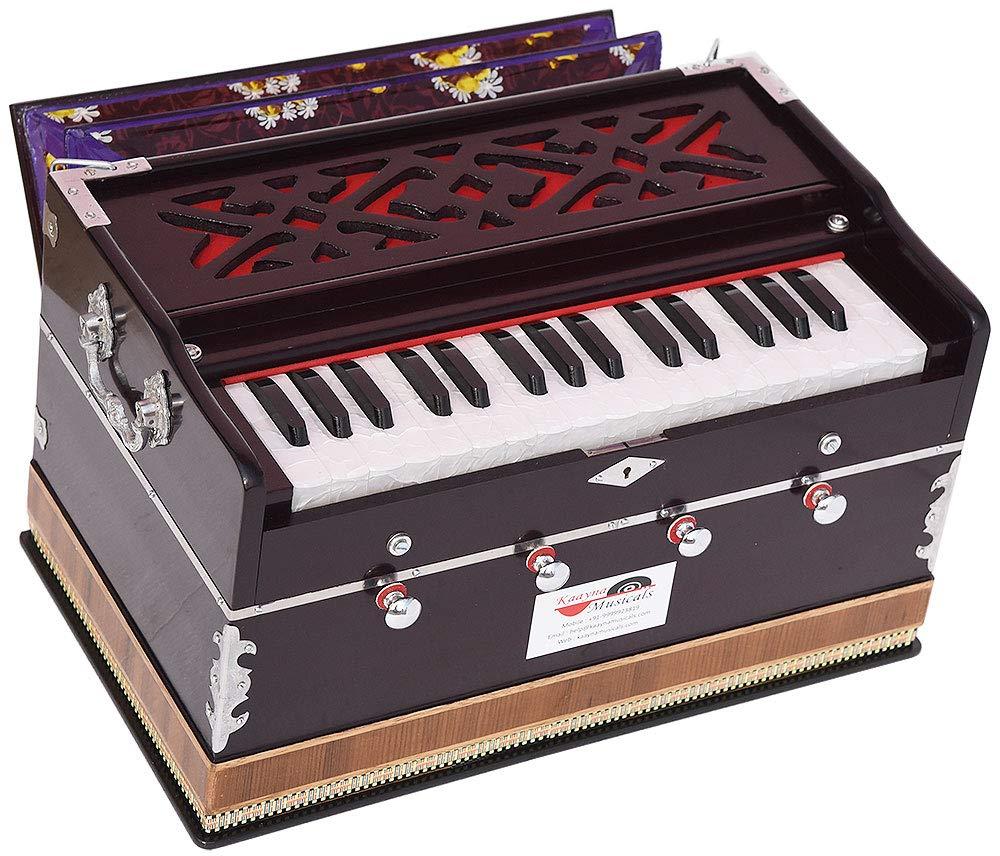Harmonium Mini Magic By Kaayna Musicals, 4 Stop- 2 Main & 2 Drone, 2¾ Octaves, Dark Cherry Colour, Gig Bag, Bass/Male- 440 Hz, Best for Yoga, Bhajan, Kirtan, Shruti, Mantra, Meditation, Chant, etc. by Kaayna Musicals