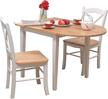 Amazon Com Target Marketing Systems 3 Piece Tiffany Country Cottage Dining Set With 2 Chairs And A Drop Leaf Table White Natural Table Chair Sets