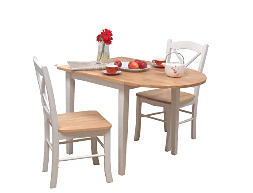 Target Marketing Systems 3 Piece Tiffany Country Cottage Dining Set with 2 Chairs and a Drop Leaf Table, White Natural