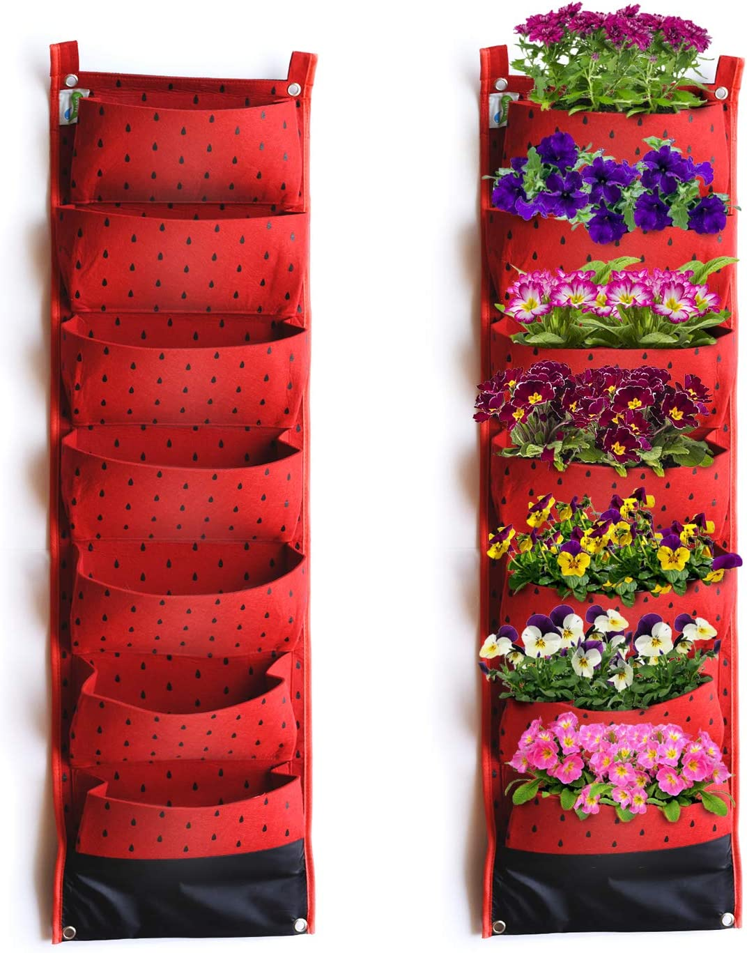 Vertical Hanging Planter w/ 7 Deep Pockets - Waterproof Breathable Wall Mount Planter Pouch for Home and Garden Decor for Fruit Herbs Veggies and Flowers - Fun and Decorative Red w/ Black Polka Dots