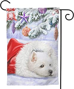 Westie Dog West Highland Terrier Christmas Xmas Themed Welcome Party Outdoor Outside Decorations Ornament Picks Home House Garden Yard Decor Double Sided 12.5 X 18 Small Flag 28 X 40 Jumbo Large