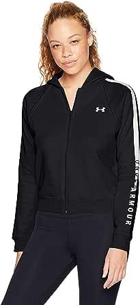 Under Armour Rival Fleece Fz - Sudadera con capucha para mujer, Mujer, 1317856-001, negro/blanco, Large