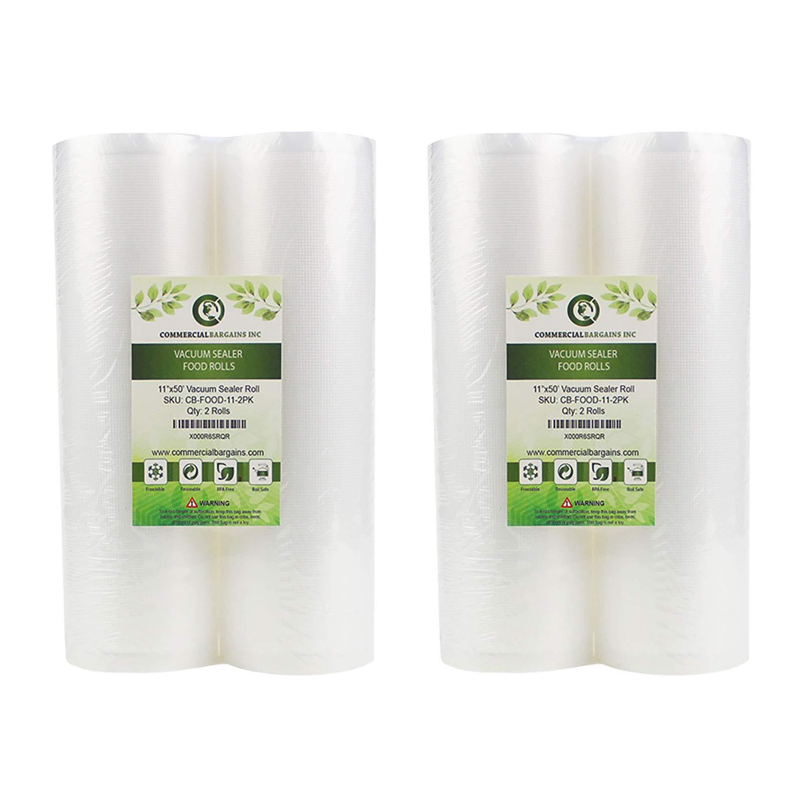 Commercial Bargains 4 Vacuum Food Sealer Saver Storage Bag Rolls 11'' Wide 50' FT Long Bulk Freezer by Commercial Bargains