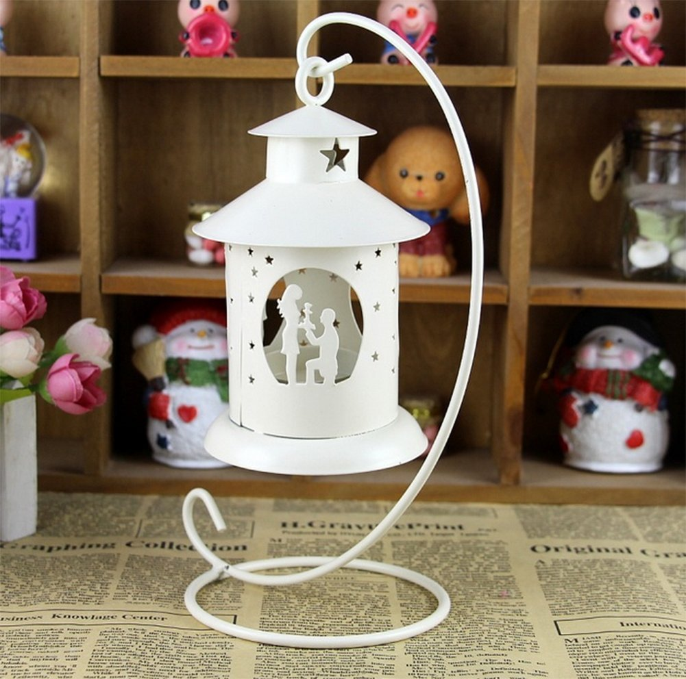 Hosaire Metal Tealight Candle Holder Vintage Lover Lanterns Creative Wedding Home Table Decoration Birdcage White