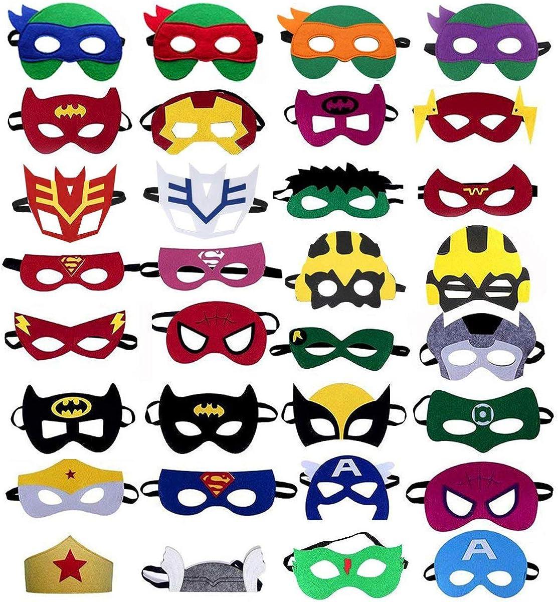 KetaKids Superheroes Party Masks 30 Pieces Superhero Masks for Children Aged 3+