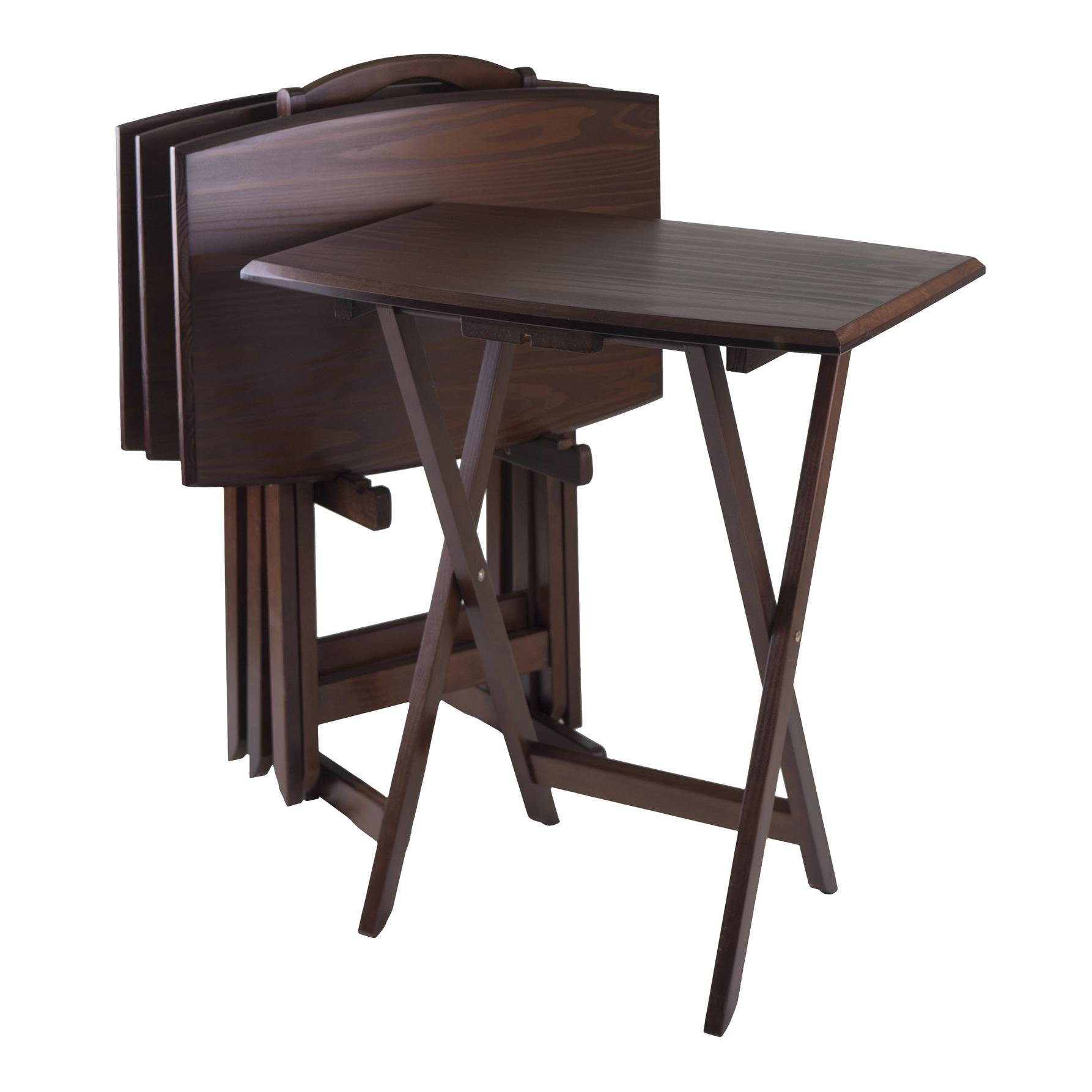 Winsome 94517 5pc Tv Table, Angle Shaped Tables With Stand-walnut