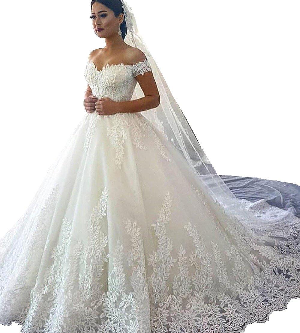 Changjie Womens Cap Sleeves A Line Wedding Dresses Lace Applique