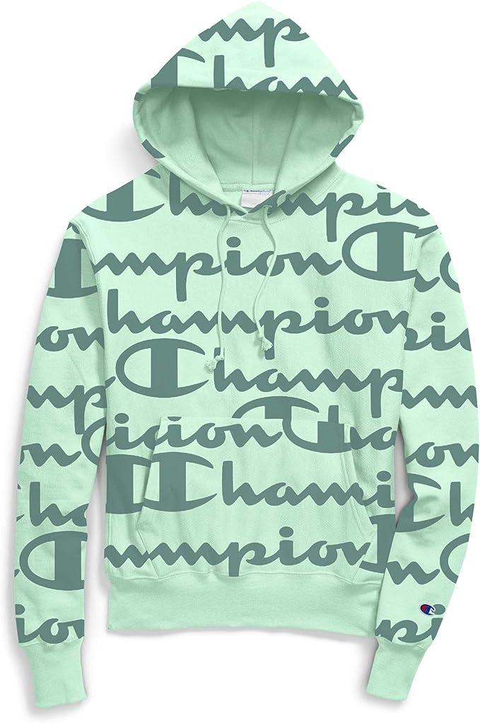 Champion REVERSE WEAVE FLEECE ALLOVER DIAGONAL SCRIPT SWEATSHIRT GRAY S2973