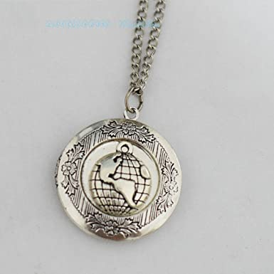 Silver world map locket necklace world map locket pendant world map silver world map locket necklace world map locket pendant world map necklace locket vintage globe pendant gumiabroncs Image collections