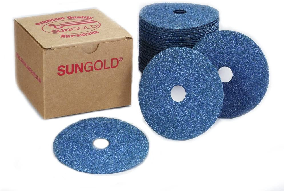Pack of 25 Pack of 25 4 x 5//8 Sungold Abrasives 13302 Center Hole 36 Grit Zirconia Fiber Disc 4 x 5//8
