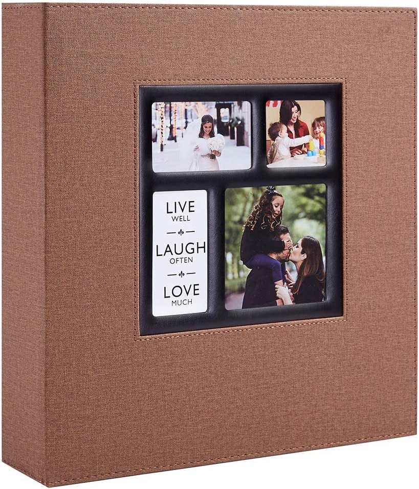 Orange, 600 Pockets potricher Linen Hardcover Photo Album 4x6 600 Photos Large Capacity for Family Wedding Anniversary Baby Vacation