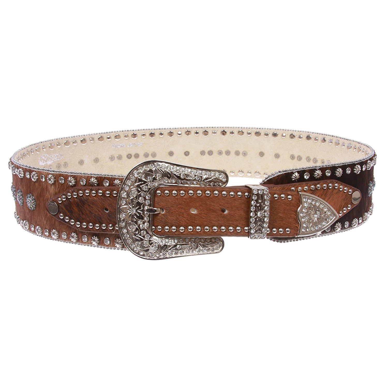 MONIQUE Womens Brown High Waist Animal Fur Western Rhinestone Fashion 2.5'' Belt,Brown M 34''- 36''