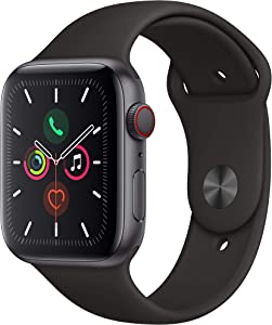Apple Watch Series 5 (GPS + Cellular, 44MM) - Space Gray Aluminum Case with Black Sport Band (Renewed)