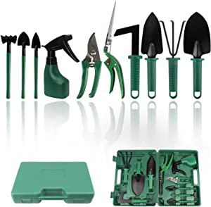 FALIDI Garden Tools Set Stainless Steel Garden Hand Tool,Gardening Gifts for Women,Men,Gardener (Green,10 Piece)