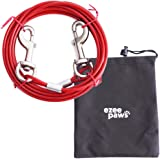 Dog Tie Out Cable with Storage Bag 10ft (3m) (Red)