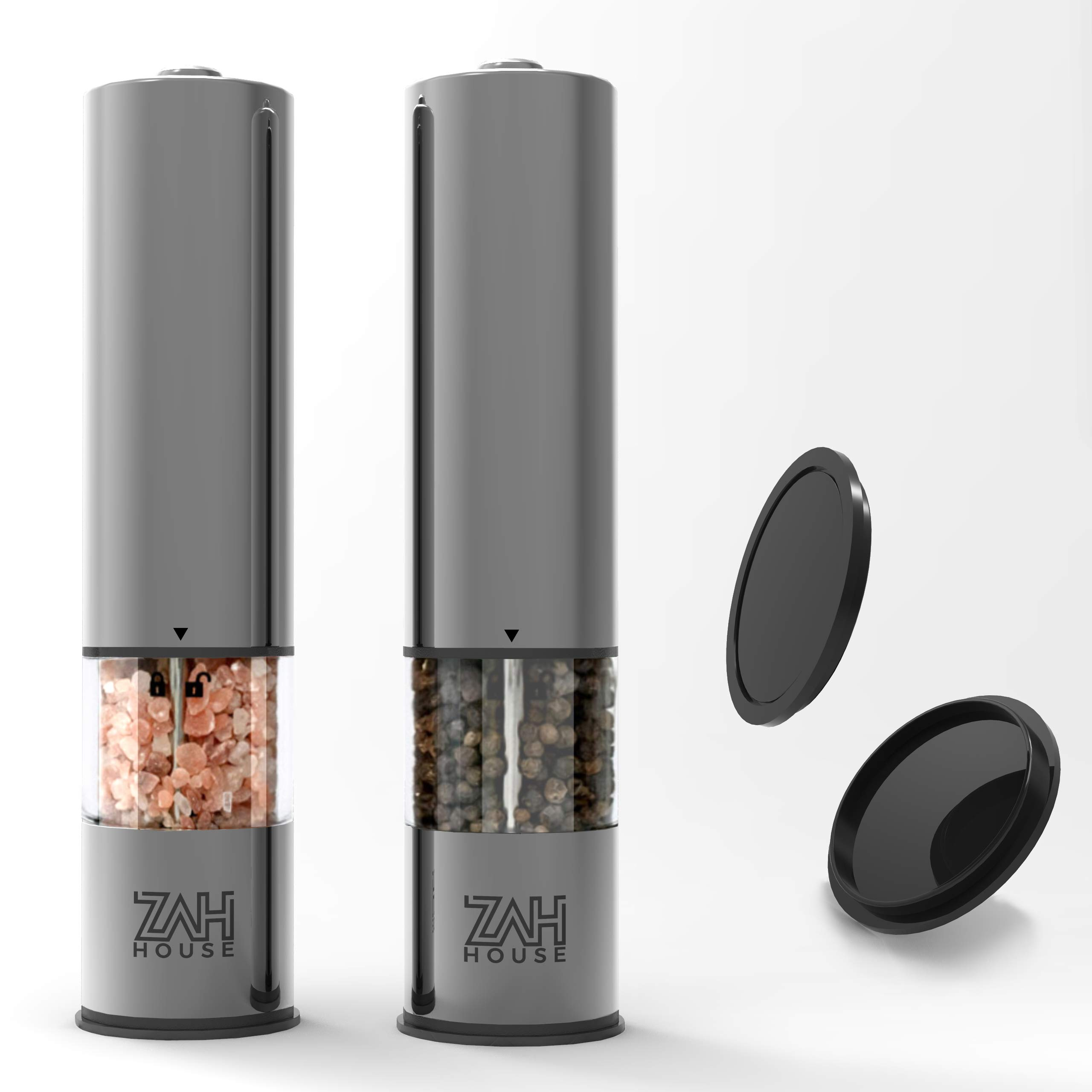 Electric Salt and Pepper Grinders - Set of 2 - Battery Operated Stainless Steel Shakers with Light - Acrylic Chamber - Adjustable Coarseness - Perfect for Grinding Salt, Pepper, Spices, Herbs & More