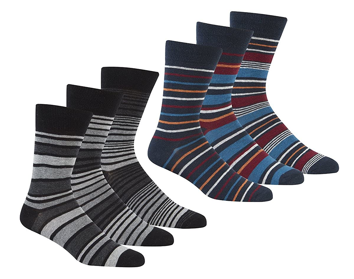 Pierre Roche Mens 3 Pack Premium Cotton Rich Striped Socks 6-11