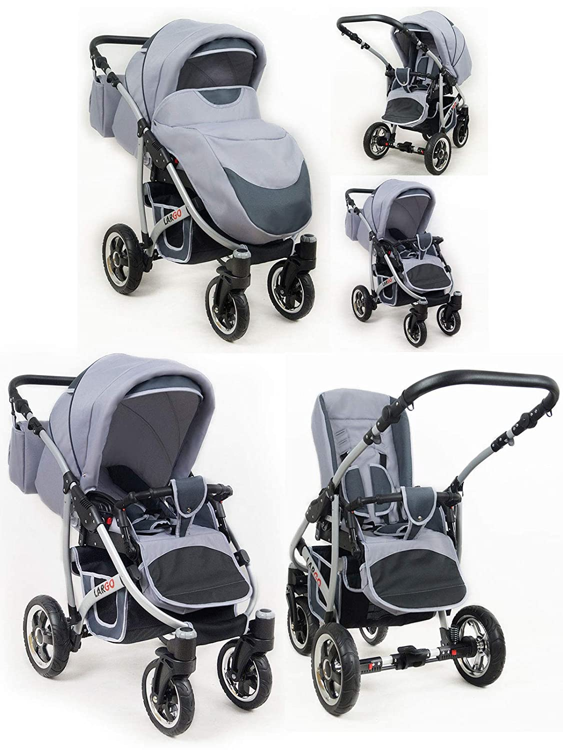 Kinderwagen Largo,3 in 1 Set Wanne Buggy Babyschale Autositz mit Zubeh/ör Black Aqua