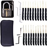 Auveach 24Pcs Single Hook Lock Pick Set Transparent Locksmith Practice Tools Kit, Black
