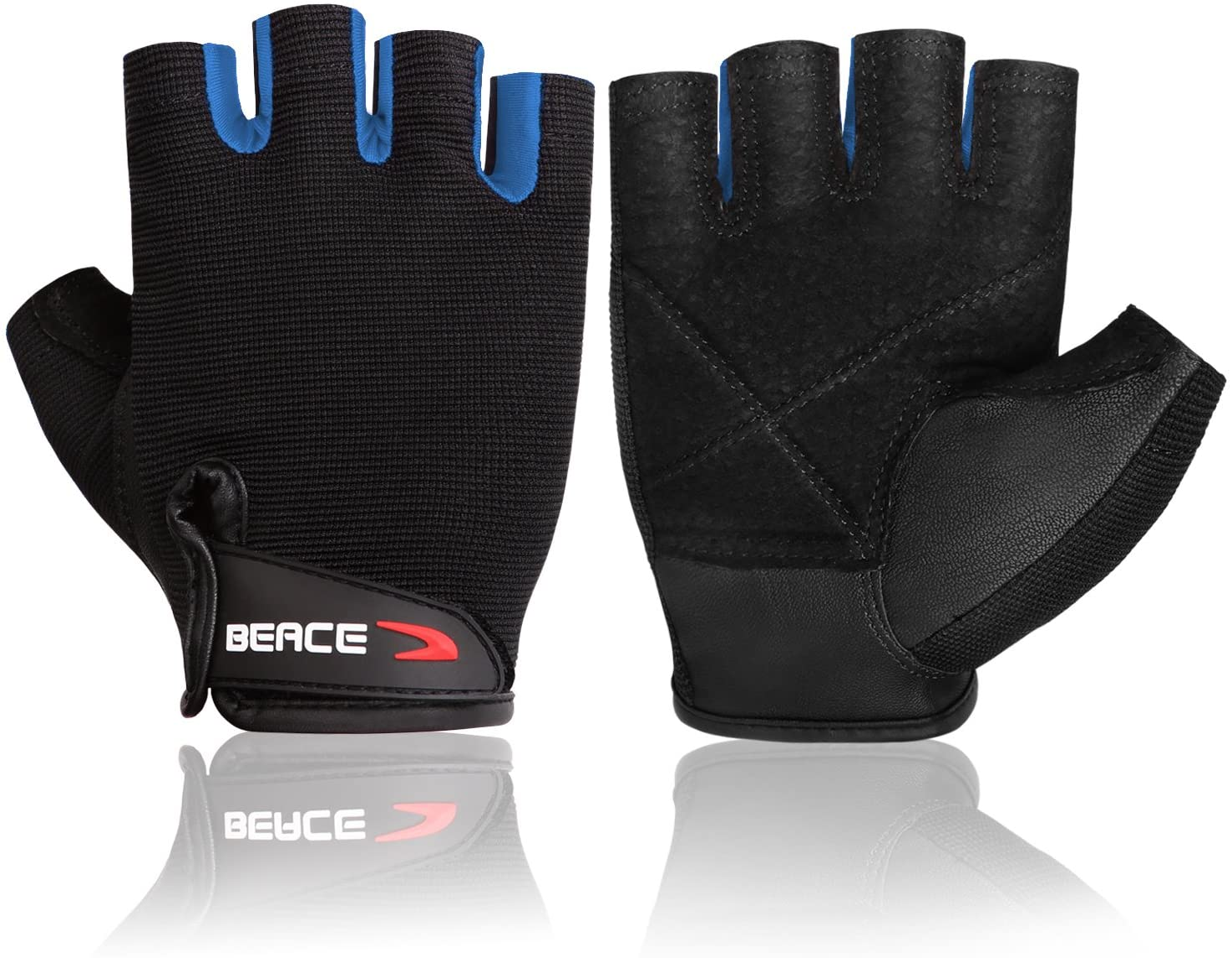 Beace Haltérophilie Gym Gants avec anti-dérapant Paume en cuir pour exercice d/'entraînement