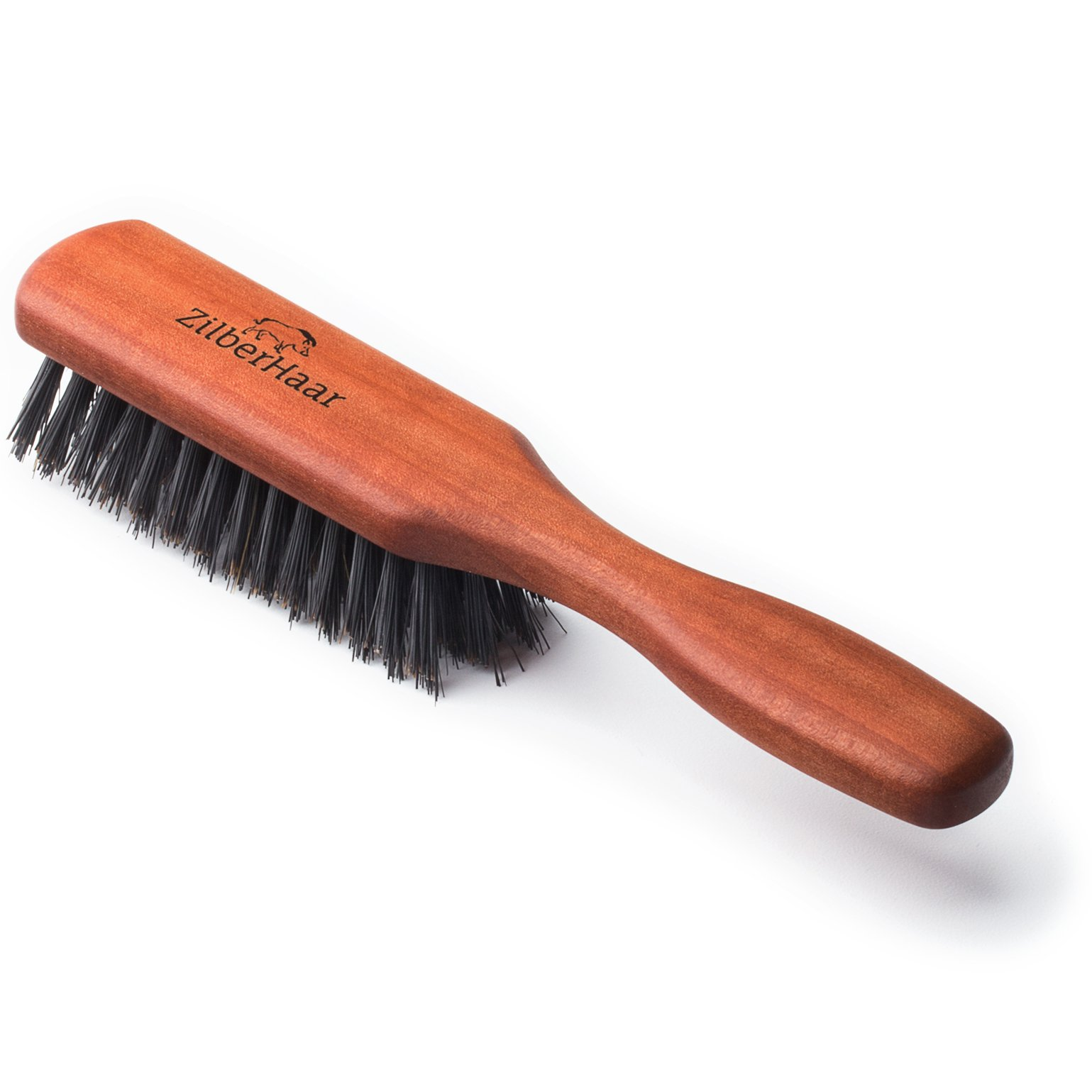 Beard Brush by ZilberHaar Pure Boar Bristles Natural Firm Hog Hair and Pearwood Works With All Beard Balms and Beard Oils Exfoliates Skin Helps Softening and Conditioning Itchy Beards Great for Travel