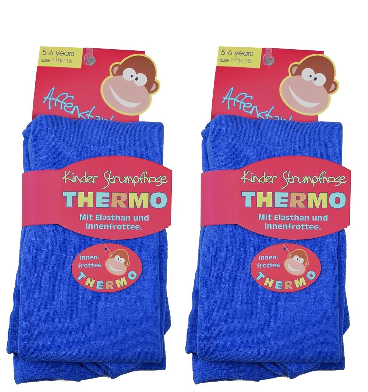 2 Kinder Thermo Strumpfhosen mit flauschigem Innenfleece, Vollfrottee, tolle Unifarben, Grössen 110/116 bis 146/152