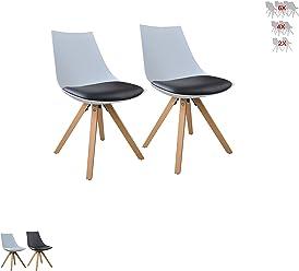 i-flair Set Esszimmerstuhl/Sessel / Küchenstuhl aus Holz mit Sitzschale + Sitzkissen aus Kunstleder (Weiß/Schwarz / Grau/Schwarz - Weiß) (2, Schwarz - Weiß)
