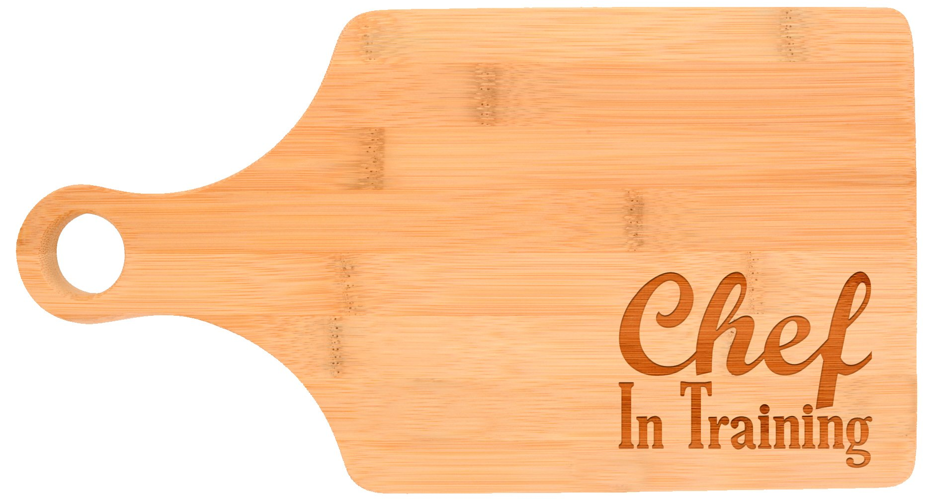 Chef in Training Youth Childrens Beginner Cooking Gift Paddle Shaped Bamboo Cutting Board Bamboo