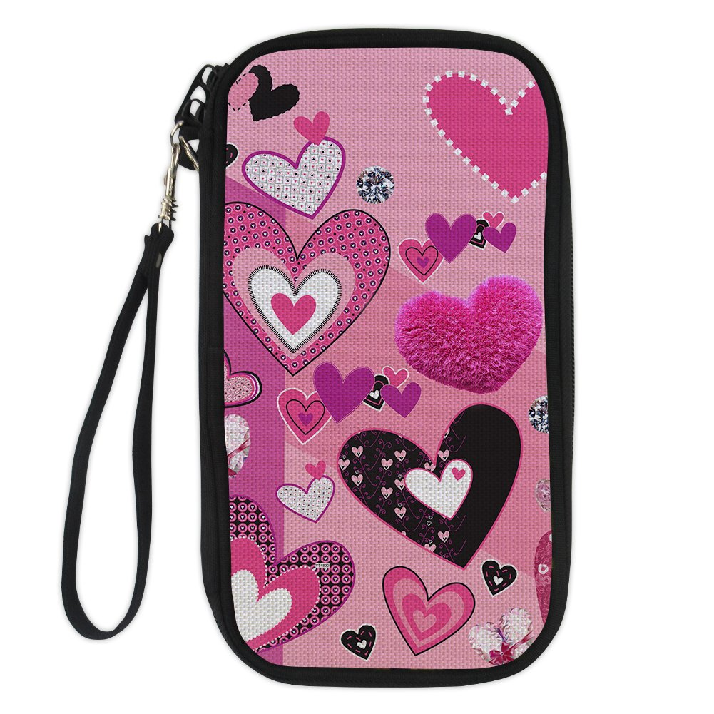 Amzbeauty Cute Passport Holder for Women Love Kiss Zippered Secure Travel Wallet