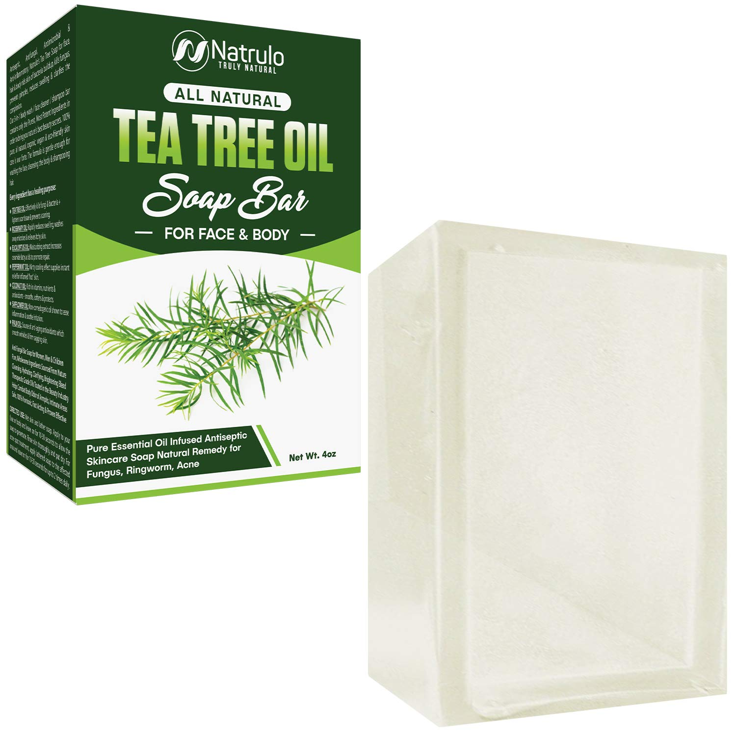Tea Tree Oil Soap Bar for Face & Body, 4oz – Antifungal Antiseptic Natural Remedy Skin Cleanser – Pure Essential Oil Infused Skincare Cleansing Anti Fungal Bar Soap for Fungus, Ringworm, Acne