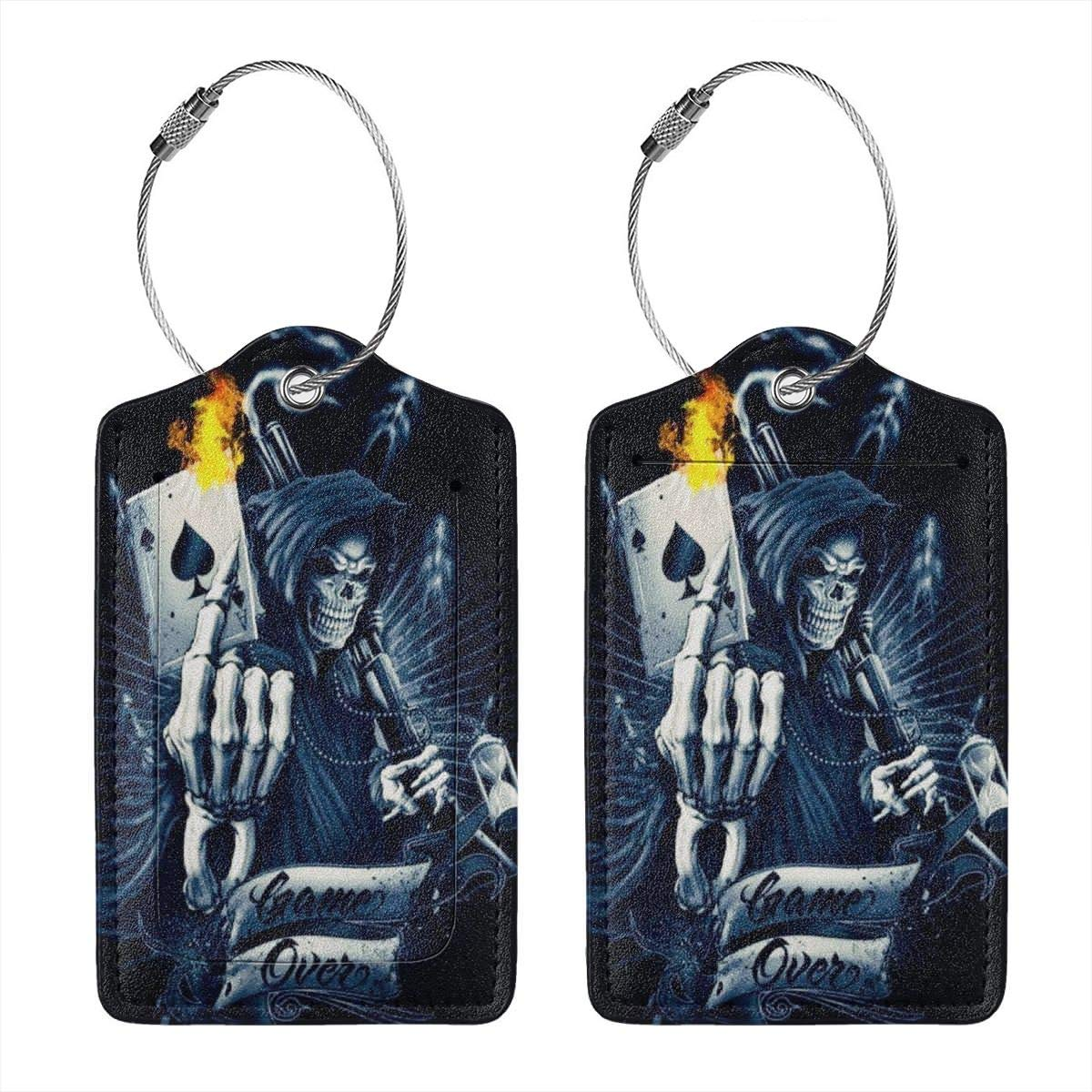 Leather Luggage Tag Skull Game Over Fire Poker Cards Luggage Tags For Suitcase Travel Lover Gifts For Men Women 4 PCS