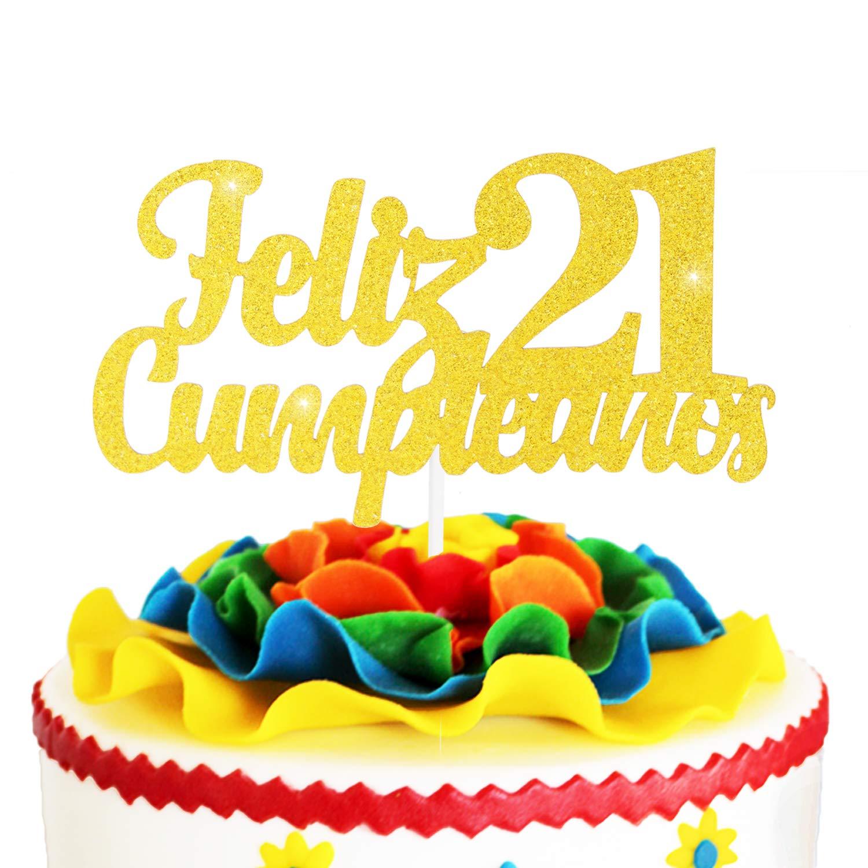 Awe Inspiring Feliz Cumpleanos 21St Birthday Cake Topper Gold Glitter Spanish Funny Birthday Cards Online Inifodamsfinfo