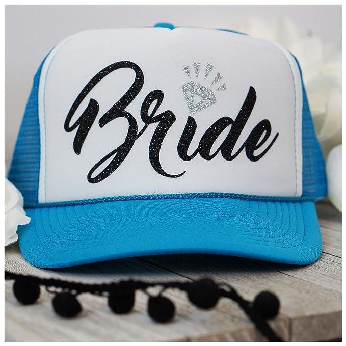 c371426785e Bachelorette Party Bride Tribe Mesh Trucker Snap Back Hat (Neon Blue White  Hat