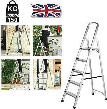 Escalera de 5 peldaños, plegable y antideslizante, escalera de aluminio, peso ligero 4,8 kg, máx. Carga 150 Kg con Plataforma Malfuncional Bandeja Ideal para Uso Doméstico: Amazon.es: Bricolaje y herramientas