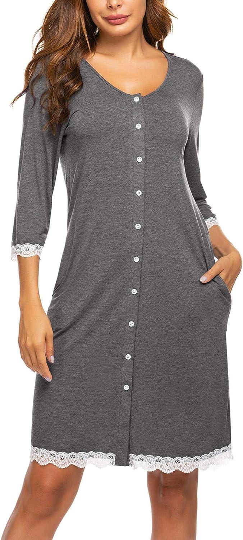 MAXMODA Damen Stillnachthemd Stillkleid Umstandsmode Nachtw/äsche Sleepshirt S-XXL