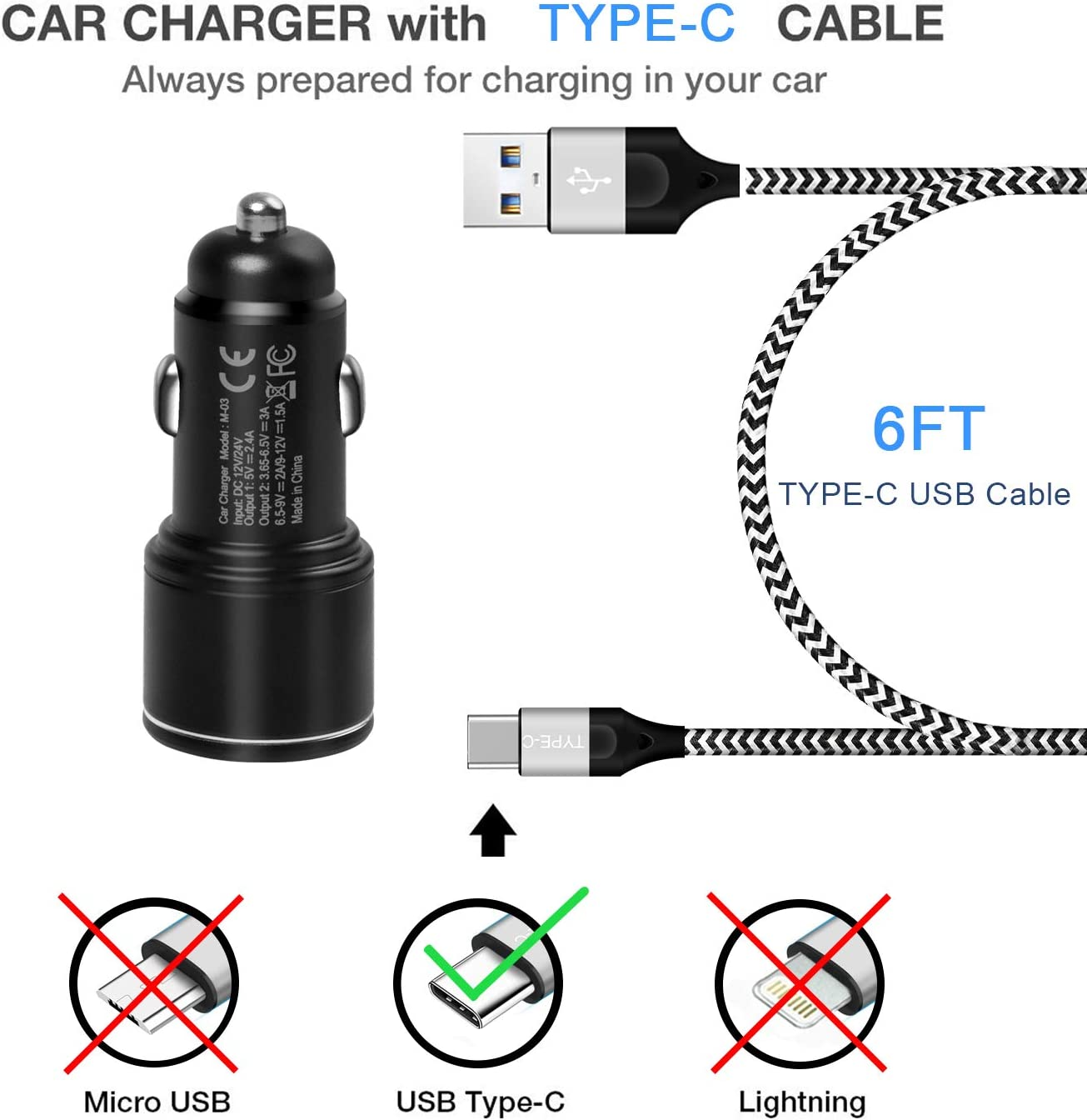 Car Charger for Samsung Galaxy S20//S20 Plus//S20 Ultra S10E S10 S10 S8 S9 S9+,Note 10 9 8 Lite,A50 A70 A80 A20 A40 A30 A31 A51 A71 A21,30W Metal Fast Adapter,Dual Port:Quick Charge 3.0+2.4A+6FT USB C