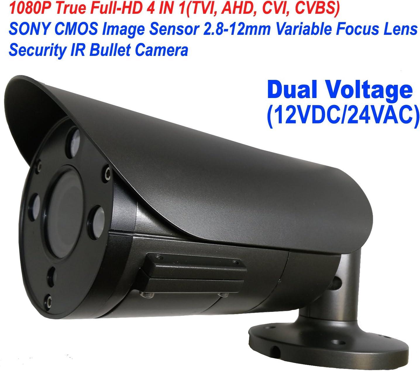 101AV 1080P True Full-HD Security Bullet Camera 4IN1(TVI, AHD, CVI, CVBS) 2.1Megapixel CMOS Image Sensor 2.8-12mm Variablefocus Lens IR in/Outdoor Auto Iris OSD Dual Voltage 12VDC/24VAC Charcoal 71Jkg1e6cWL
