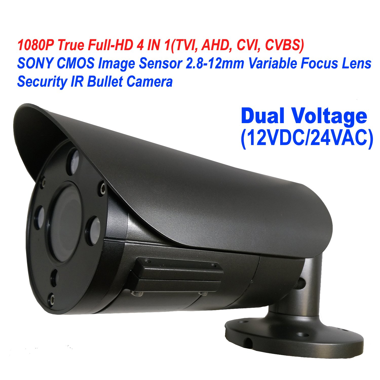 101AV 1080P True Full-HD Security Bullet Camera 4IN1(TVI, AHD, CVI, CVBS) 2.1Megapixel CMOS Image Sensor 2.8-12mm Variablefocus Lens IR In/Outdoor Auto Iris OSD Dual Voltage 12VDC/24VAC Charcoal