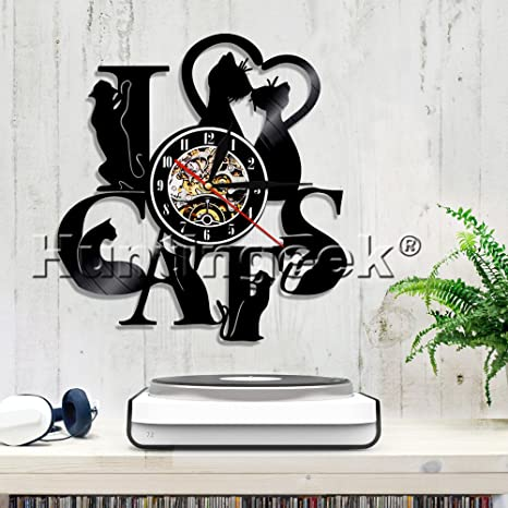 Amazon.com: I LOVE Cats Vinyl Record Wall Clock Art Gift Room Modern Home Record Vintage House Warming Gift Cat Clock Cat Lover Gift Cat Record Clock ...